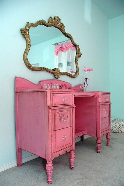 Pink Painted Vanity Desk